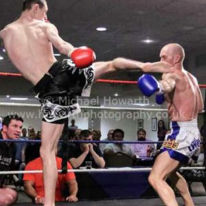 Rob McNee landing the fight winning head kick (picture courtesy of Michael Howarth photography)